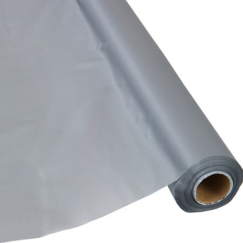 Schorin Plastic Party Banquet Table Cover Roll - 300 ft. x 40 in. - Disposable Tablecloth (Silver Grey)