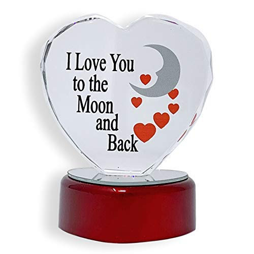 BANBERRY DESIGNS I Love You to The Moon and Back Faceted Glass Heart - LED Color Changing Red Heart Shaped Mirrored Base ()
