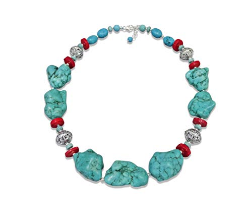 MGR MY GEMS ROCK! Beaded Magnesite Turquoise Red Sea-Bamboo Coral Southwestern Style Collar Style Statement Necklace.