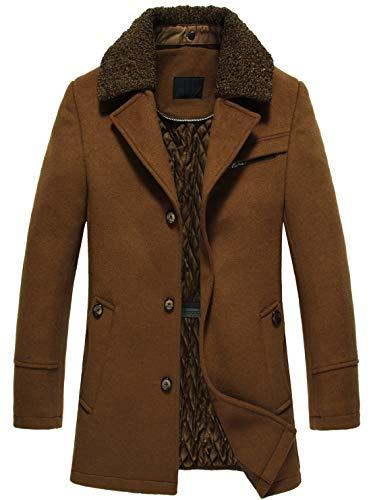 chouyatou Men's Gentle Stylish Detachable Fur Notched Collar 3 Button Regular Woolen Pea Coat (Medium, Brown) (Notched Coat Fur Collar)