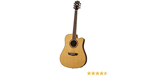 Washburn WD10SCE - Guitarra electroacústica, color natural: Amazon ...