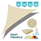 SoLGear Waterproof UV Block 9'x15'x17.5' Right Triangle Beige Sun Shade Sail Canopy Triangle 180 GSM Polyester for Pergola Carport Awning Patio Yard- Customized Size Available