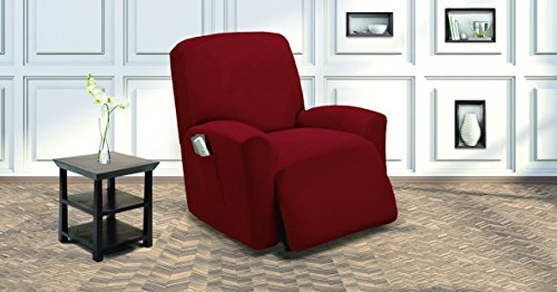 Elegant Home One Piece Stretch Recliner Chair Cover Furniture Slipcovers with Remote Pocket Fit Most Recliner Chairs (Burgundy) (Slipcover Burgundy)