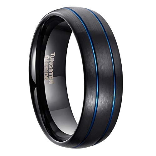 - 8mm Black Tungsten Ring for Men Blue/Rose Gold Thin Groove Line Dome Brushed Comfort Fit Size 8-13 (Black & Blue, 13)