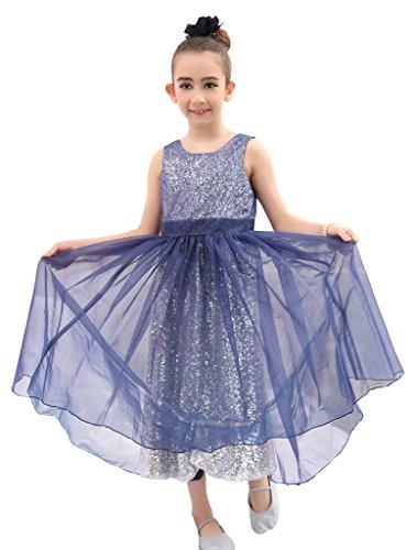 Bow Dream Flower Girl's Dress Organza Navy Blue 12