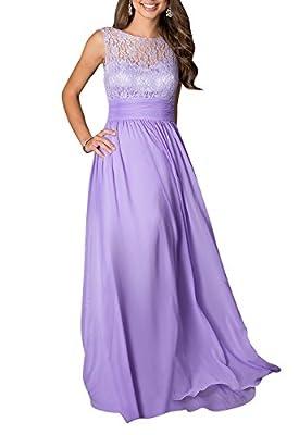 LOVEBEAUTY Women's Long Sleeveless Chiffon Formal Prom Party Evening Dress