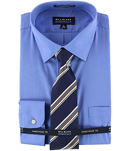 Bill Blass Mens Hand Made Tie Button Up Dress Shirt, Blue, 16-16.5