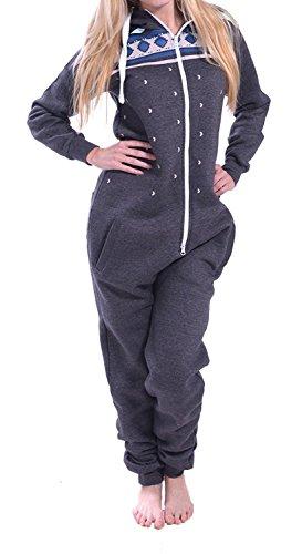 Juicy Trendz Dame Frauen Unisex One Zip Onesie Jumpsuit Playsuit Anzug H-CHAR S