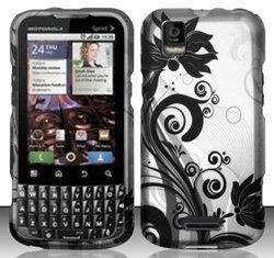 Motorola XPRT MB612 (Sprint) Black/Silver Vines Design Hard Case Snap On Protector Cover + Car Charger + Free Neck Strap + Free Wrist Band (Motorola Xprt Mb612)