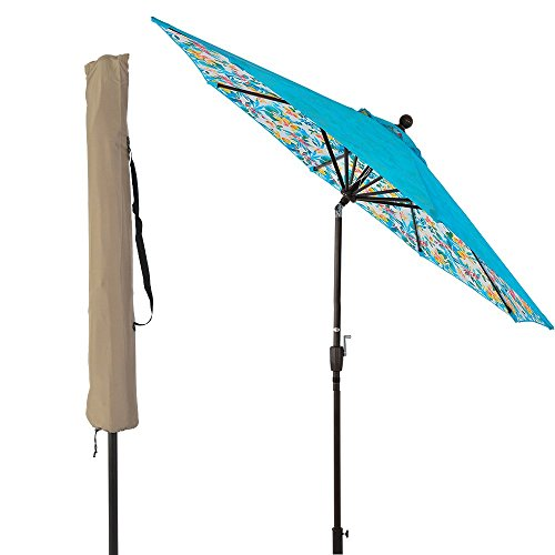 LCH 8.6 ft Outdoor Umbrella Patio Backyard Deck Table Umbrella Sturdy Pole, 8 Ribs, Crank Open, Push Button Tilting, Dark Red, Novelty Design (Blue-Tropical Forest) by LCH