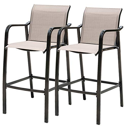 Sundale Outdoor Counter Height Bar Stool All Weather Patio Furniture with Quick-Dry Textilene Fabric, 2 PCS Set (Brown) (Swivel Rattan Bar Stools Arms)