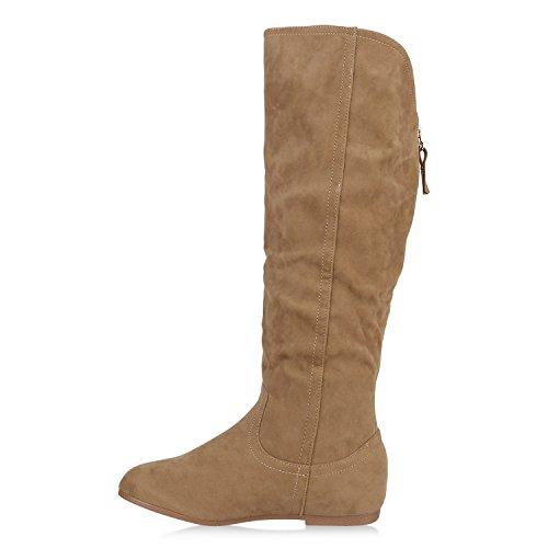Stiefelparadies Warm Gefütterte Stiefel Damen Winterstiefel Wildleder-Optik Boots Schnallen Profilsohle Winter Schuhe Flandell Khaki Bernice