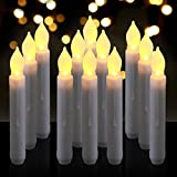 Homemory 6.9' LED Battery Taper Candles, Flickering Flameless Tapered Candles, Warm White LED Lights, Dripless, Set of 12
