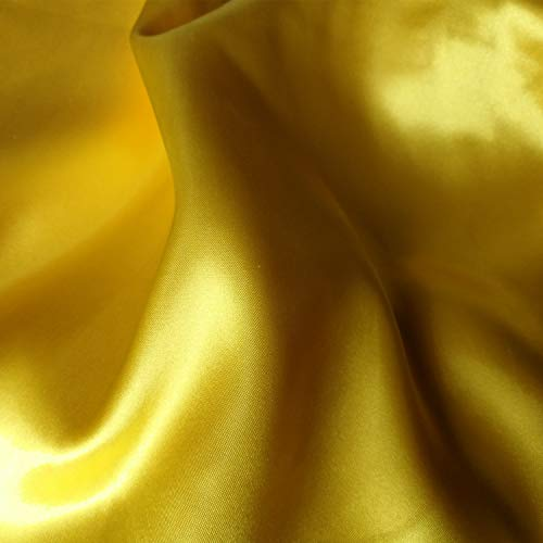 60 inch Stretch Satin Fabric Bridal Material Bolt by The 5 Yard (Yellow)