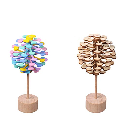 LYhopes Magic Rotating Spin Toy Stress Relief Toys for Children Adults Puzzle Desk Fun Decompression Toy Rotating Lollipop Office Decor 2 Pack]()