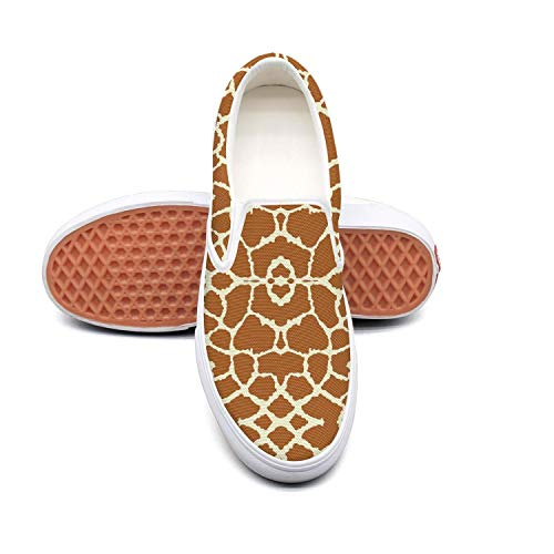Fangtinge Man Brown Giraffe Skin Canvas Shoes Casual Loafers Shoes Sneaker