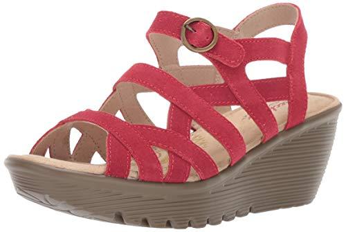 Skechers Women's Parallel-Three Strap Buckle Slingback Wedge Sandal, red, 7 M US