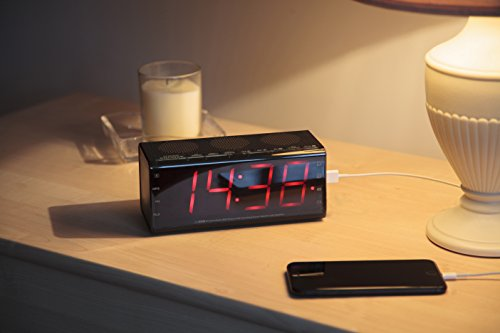 alarm clock digital radio 24 hour bluetooth speaker fm radio usb chargin. Black Bedroom Furniture Sets. Home Design Ideas