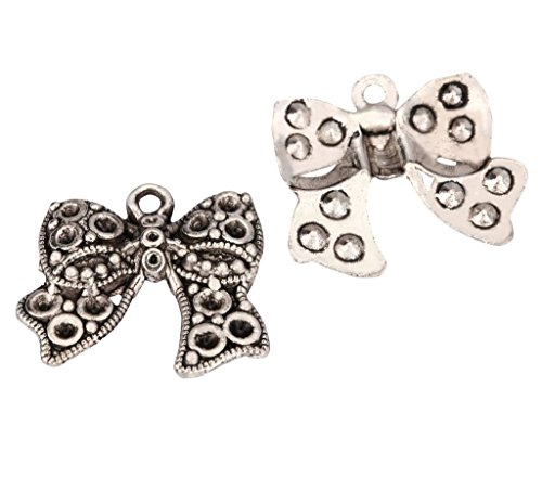 10 x Ribbon Knot Charms 25x20mm Antique Silver Tone for Bracelets Necklaces Earrings -