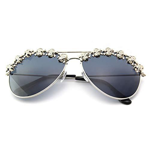 Skull Design Round framed diamond sunglasses Halloween decorative sunglasses (Black 5) ()