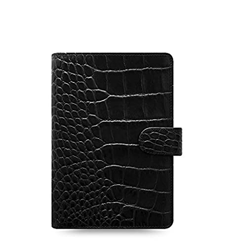 Filofax Classic Croc Personal Size Leather Organizer Agenda Ring Binder Calendar with DiLoro Jot Pad Refills Ebony 2019 Year 026072