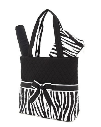 Black and White Quilted Zebra Diaper Bag