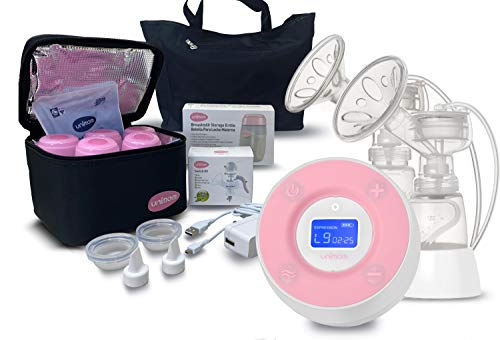 Unimom Double Electric Breast Pump – Minuet Bundle Pack with Cooler and Bottles and swicth kit – Touch LCD Display – by Unimom