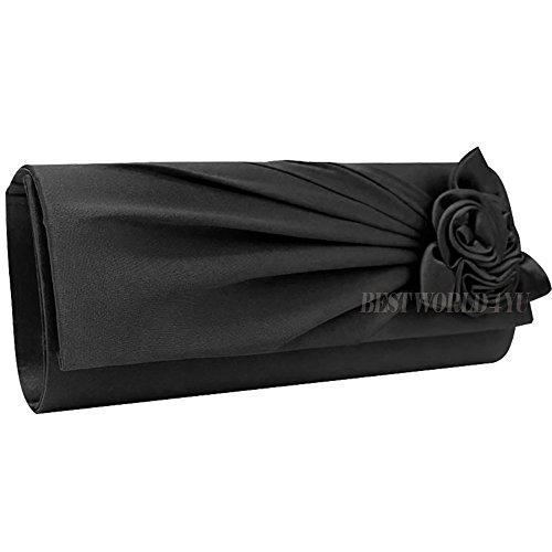 With Prom Bridal Evening Women's Bag Rose Party Wocharm Satin Wedding Handbag Bag Ladies Clutch Black Shoulder v0PHXq