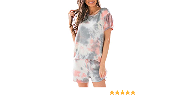 Viottiset Womens One Piece Tie Dye Sweatsuit Set Short Sleeve Pullover and Drawstring Sweatpants Sets