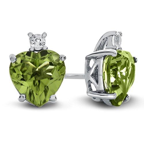 Finejewelers 10k White Gold 7mm Heart Shaped Peridot with White Topaz Earrings