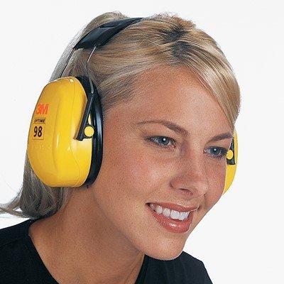 3M Peltor OCS1401 Optime 98 High Viz Yellow ABS Over-The-Head Hearing Conservation Earmuffs, Noice Reduction Ratio 25 dBA