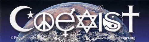 Coexist Over Planet Earth Bumper Sticker