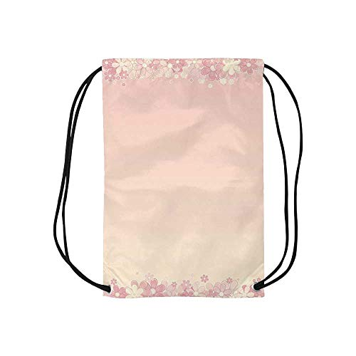 Light Pink Personalized Drawstring Bag,Floral Wreath Frame with Bunch of Flower Beauty Fragrance Feminine Girls Decorative for School Shopping,One_Size