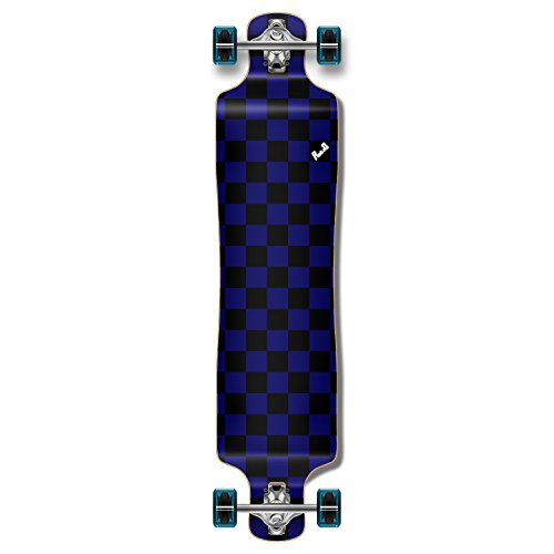 Yocaher Blank/Checker Complete Lowrider Skateboards Longboard Cruiser Black Widow Premium 80A Grip Tape Aluminum Truck ABEC7 Bearing 70mm Skateboard Wheels (Complete - Lowrider - 09 - Checker Blue) ()