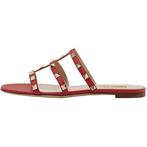 Sandals Studded Mules Slippers Flats Red Rivets Rockstud Caitlin Slides Pan Backless Womens Strappy Dress 7Cw66q