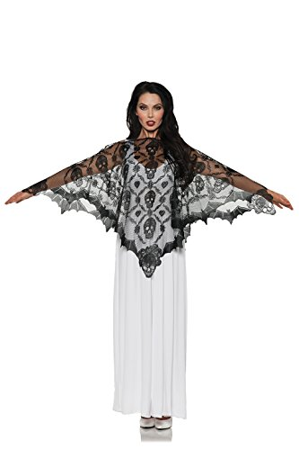 Tv Themed Halloween Costume Ideas (Underwraps Women's Vampire Lace Poncho, Black, One Size)