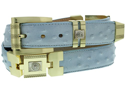 El Presidente - Men's Bright Blue Ostrich Quill Print Leather Cowboy Belt Gold Links 38