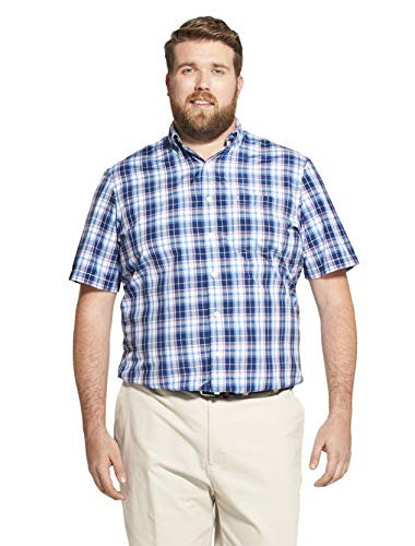 Classic Golf Sport Shirt - IZOD Men's Big and Tall Breeze Short Sleeve Button Down Plaid Shirt, Estate Blue, X-Large