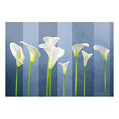 Arum Lilies with Blue Striped Textured Background - Wall Mural, Removable Sticker, Home Decor - 66x96 inches