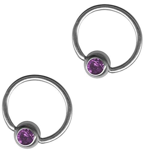 BodySparkle Body Jewelry Set of Two Purple 18 gauge 1/2 inch 12mm Captive Bead Rings-Daith Earrings-Steel CBR-Septum-Lip