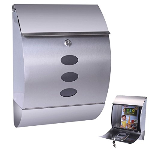 (Stainless Steel Wall Mount Mail Box w/ Retrieval Door & Newspaper Roll & 2 Keys)