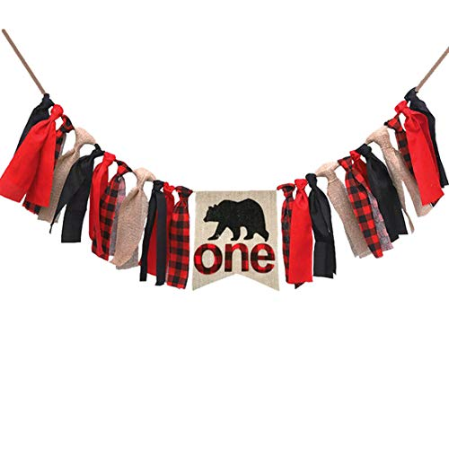 Lumberjack First Birthday Party Supplies Decorations,Buffalo Plaid Camping Wild Bear 1st Birthday Party High Chair Banner,Baby Boy Photo Photo Booth Props