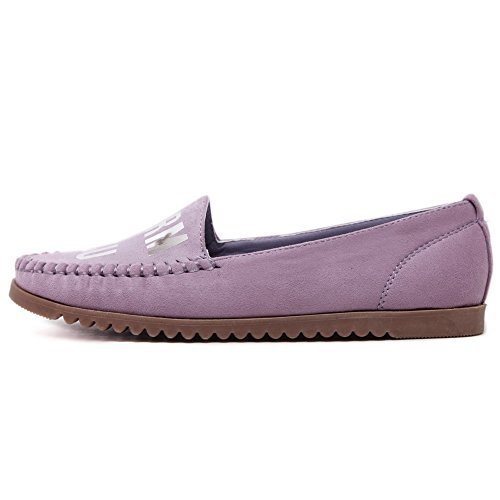 Closed Purple Flats Decoration Pull Shoes with Toe WeenFashion Round Letter On Womens qIxwYv
