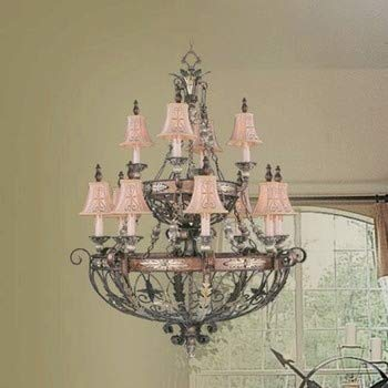 Livex Lighting 8848-64 Pamplona - Twelve Light Chandelier, Palacial Bronze with Gilded Accent Finish with Hand Embroidered Shade ()