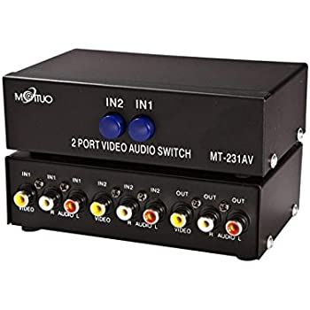 2 Port Video Audio Av Switch - 2 Input 1 Output - 2 DVD to 1 Monitor - Standard RCA Connectors