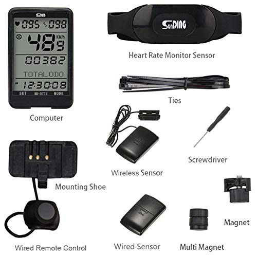 Sunding SD 577C Bike Speedometer Wireless Heart Rate Cadence Monitor Stopwatch Bicycle Computer Cycling Odometer Accessories
