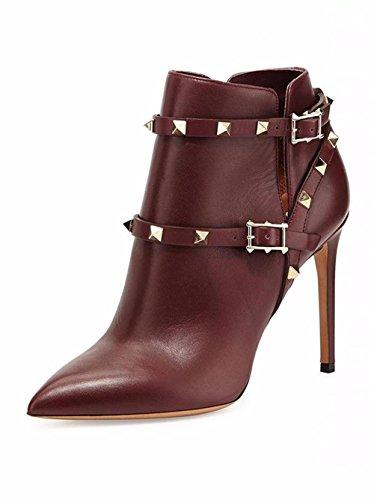 Mujeres Tobillo Corto Botas Stiletto Alto Talón Zapatos Apuntado Cuero Negro Metal Botón remache Spring Otoño Invierno Brown
