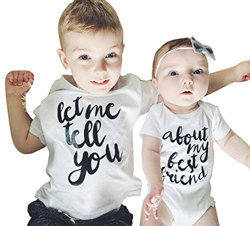 Brother Friend Matching let me Tell You About My Best Friend Print T-Shirt Romper Short Sleeve Cotton Outfits (Romper, 3-6 Months)