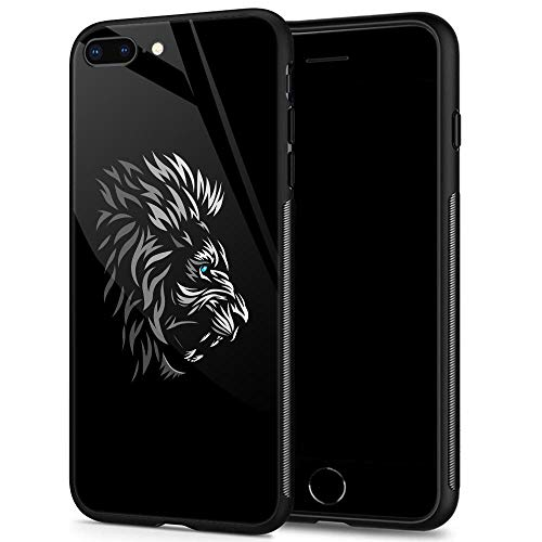 iPhone 8 Case,9H Tempered Glass iPhone 7 Cases for Men Boys,Cool Tribal Profile Lion Pattern Design Printing Shockproof Anti-Scratch Case for Apple iPhone 7/8 4.7 inch Tribal Lion