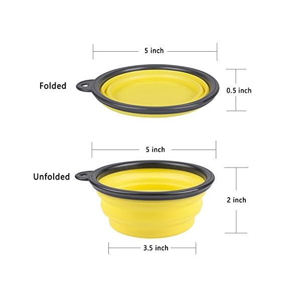 PetBonus 4-Pack Silicone Collapsible Dog Bowls, BPA Free Dishwasher Safe, Portable Foldable Travel Bowls 4-Color Carabiners per Set